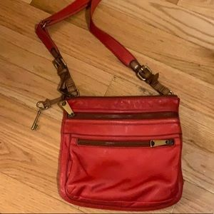 Fossil Authentic red crossbody purse